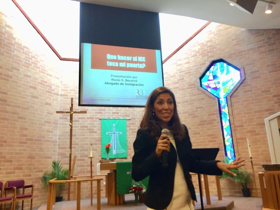 Warrenville immigration attorney Rocio Becerril appeared Sunday at St. Andrew Lutheran Church in West Chicago for a discussion on the rights of those living in the country illegally if U.S. Immigration and Customs Enforcement agents come to their homes.