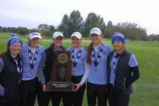 From left to right, St. Charles North's Catie Nekola, Sarah Arnold, Megan Furtney, Katelyn David, Emma Hayes and Isabella Spinazze show off their 2018 Class 2A state championship trophy. Nekola and Spinazze both return from that team and will be leaders for the North Stars this fall.
