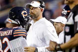 Steve Lundy/slundy@dailyherald.com Chicago Bears head coach Matt Nagy looks dejected after a last minute Packers interception during the Bears 10-3 loss to the Green Bay Packers Thursday, September 5, 2019 at Soldier Field in Chicago.