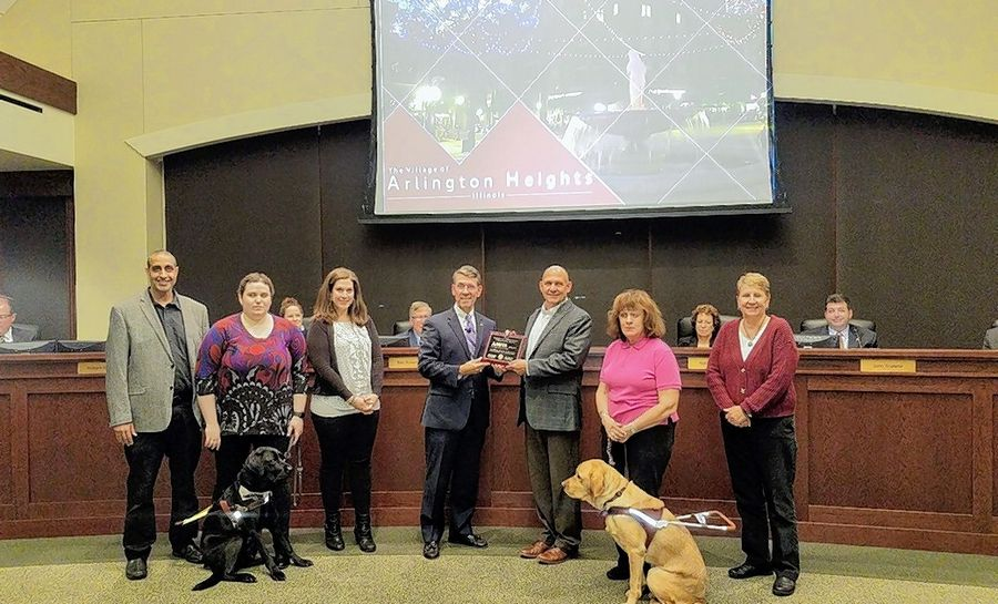 Mayor Tom Hayes, fourth from left, presents Rick Germann of the Amita Health Alexian Brothers Center for Mental Health with the 2019 Disability Employment Awareness Award. They are joined by Commission for Citizens with Disabilities Chair Roxanne Calibraro, second from right, and employees of the center.