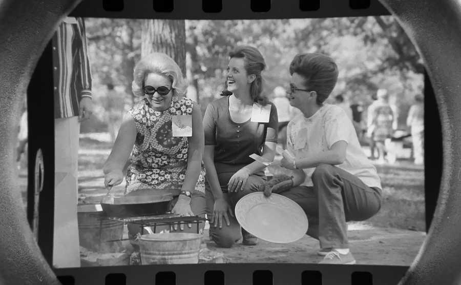 The Daily Herald Archives, Assignment # 23,061, Bob Finch photo: Palatine Girl Scout leaders, left to right, Mrs. James Hilgendorf, Mrs. Steve Chernicky, and Mrs. Don Bennett learn the finer art of cooking scrambled eggs outdoors during a leader training session at Deer Grove Forest Preserve in Palatine in September of 1971.
