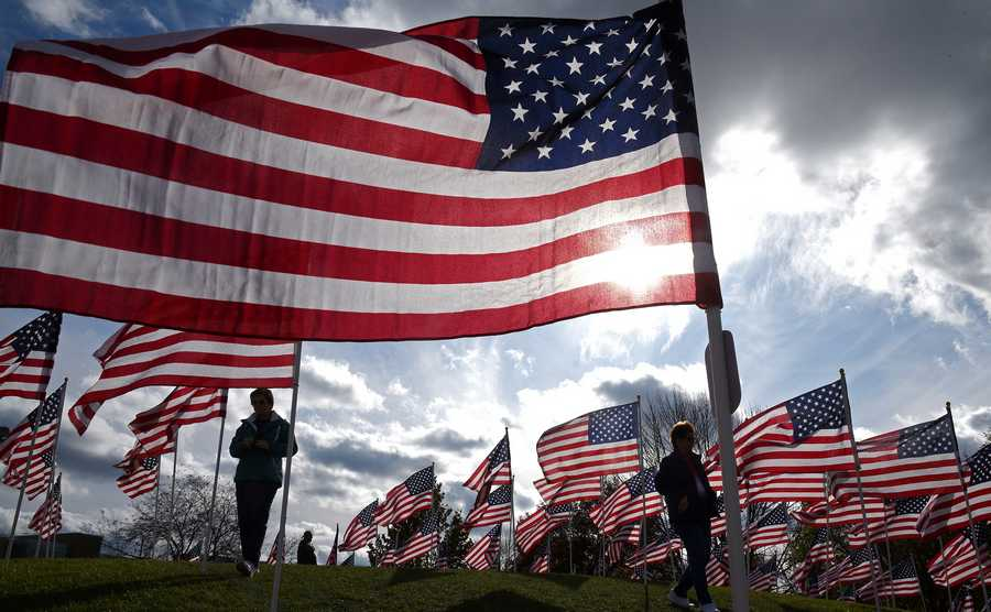 People wander through Naperville's Healing Field of Honor Monday.