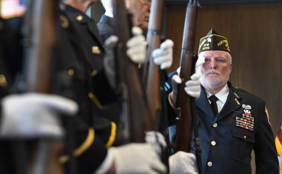 Bob Huber of South Elgin and VFW Post 5036 salutes as Taps is played during the Veterans Day service on Monday, Nov. 11, 2019, at the St. Charles Police Department.