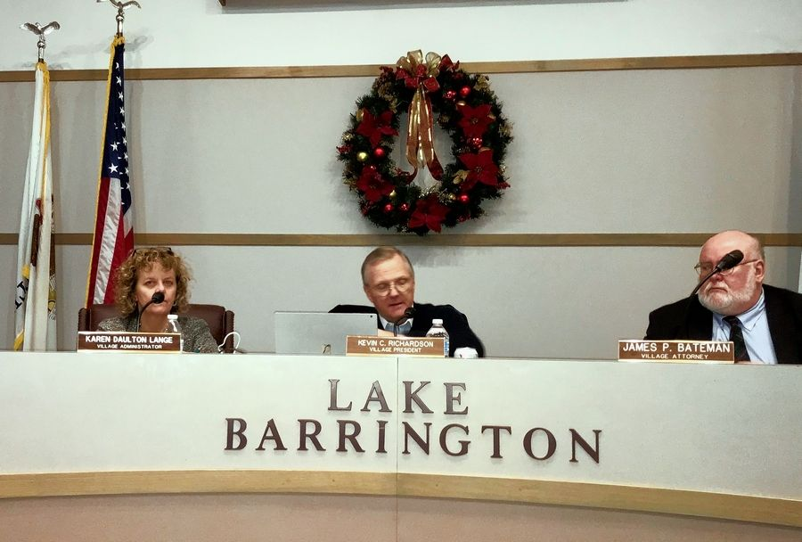 Lake Barrington Village President Kevin Richardson, center, said Tuesday night that not allowing marijuana businesses in town is consistent with previous rejections of an off-track betting facility and video gambling.