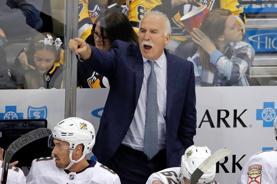 Joel Quenneville, now coach of the Florida Panthers, gets his team pointed in the right direction in a recent game in Pittsburgh.