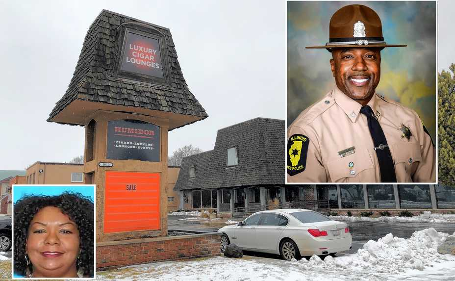 Retired state police Trooper Gregory Rieves, top right, was killed and two others wounded when Lisa V. McMullan of Chicago opened fire on them in a room in this Lisle cigar lounge, police said.