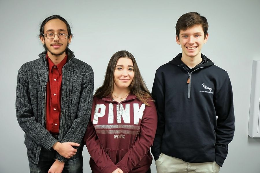 "From left, Zarak Tariq from Maine East, Izabella (Skye) Thompson from Maine West and Paolo Vacala from Maine South were named ""207's Best"" students for February."