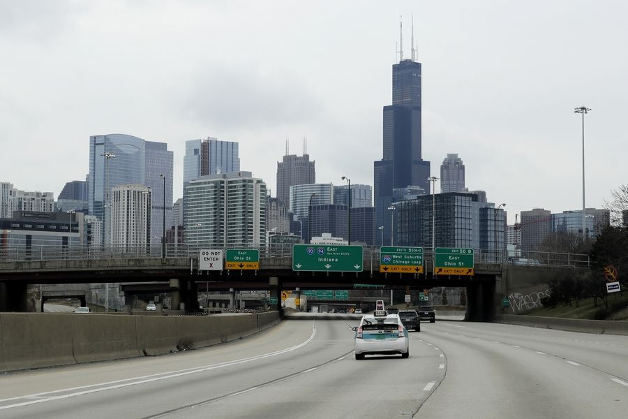 Less traffic on I-94 South bound in Chicago, Sunday, March 22, 2020. Gov. J.B. Pritzker on Friday issued a stay-at-home order, the most strict statewide action he's taken to date in the effort to prevent further spread of the new coronavirus. Pritzker's order follows statewide schools closures, restrictions on the size of gatherings, and an order for bars and restaurants to suspend dine-in service.