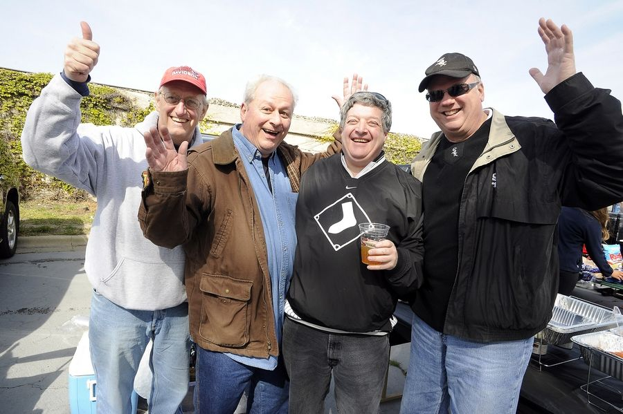 Wearing his black Sox shirt, Libertyville's Howard Jaffe attends his 50th White Sox opening day in a row in 2012. For many of those years, buddies Steve Risley of Libertyville, from left, Mike Cuccinelli of Roscoe, and Tom Miller of Libertyville tailgate with him in Lot C before the game.