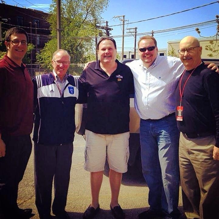 "Palace Grill owner George Lemperis, center, with his media pals, from left, Mark Lazerus, Mike ""Doc"" Emrick, Chris Kuc and former Daily Herald Blackhawks beat writer Tim Sassone in 2013."