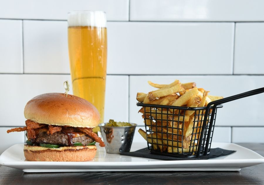 Order your meal online from the new brewpub and restaurant Two Hound Red, which opened last August.