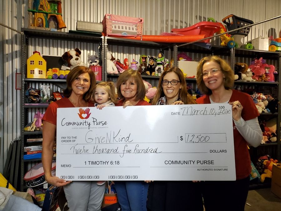 Grant given to GiveNKind from Community PurseLeft to right: Sue Voorhees, Amy Kamins, Emily Petway, Carolyn Dun