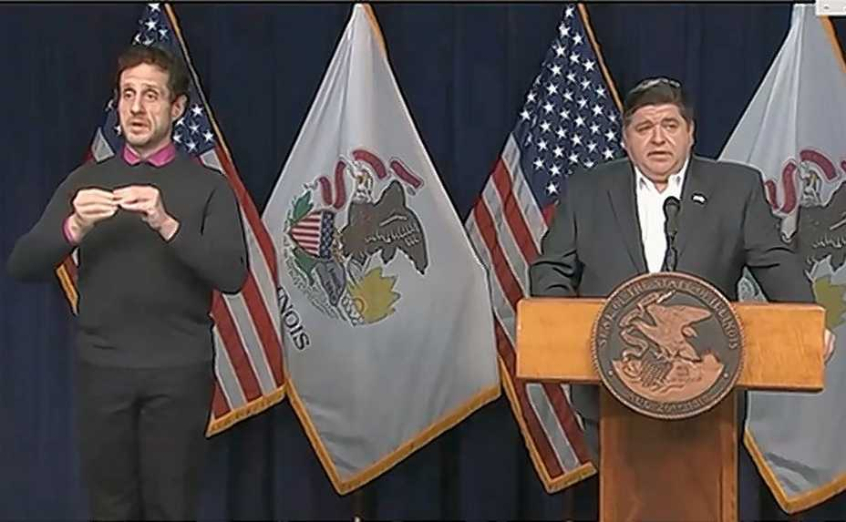 Illinois Gov. J.B. Pritzker speaks Thursday during his afternoon update on the COVID-19 outbreak.