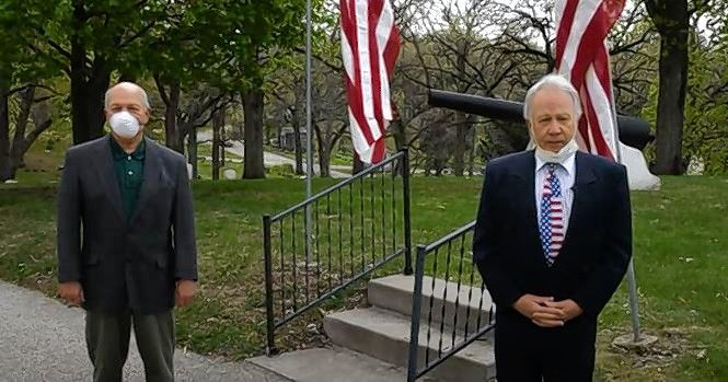 Steve Thoren, right, president of the Elgin Patriotic Memorial Association, and Elgin Mayor David Kaptain talk about plans for this year's Memorial Day tribute.