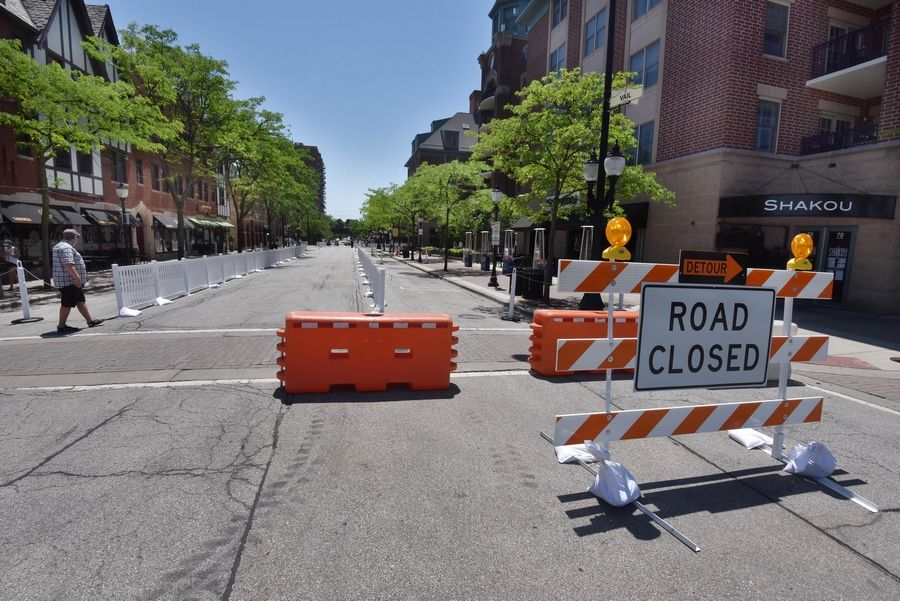 Barricades and signs were installed on Vail Avenue Tuesday in preparation for the start of Arlington Alfresco Wednesday night. The closure of Vail, along with nearby Campbell Street, is to facilitate the expansion of outdoor dining in downtown Arlington Heights.