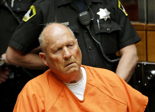FILE - In this April 27, 2018 file photo Joseph James DeAngelo, is arraigned in Sacramento County Superior Court in Sacramento, Calif. The former police officer is tentatively set to plead guilty Monday, June 29, 2020, to being the elusive Golden State Killer. The hearing comes 40 years after a sadistic suburban rapist terrorized California in what investigators only later realized were a series of linked assaults and slayings.
