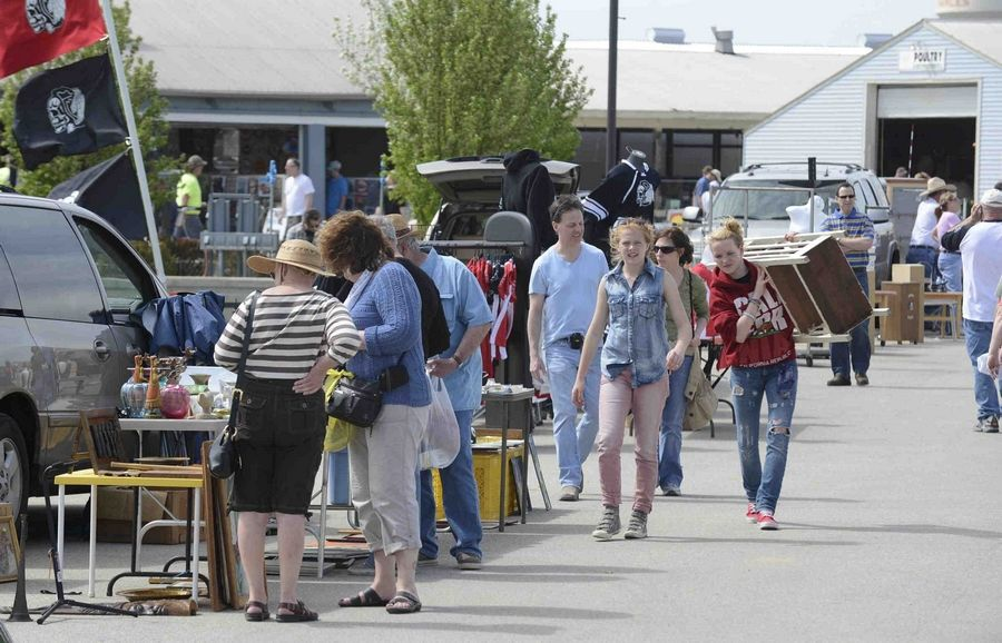 The Kane County Flea Market in St. Charles, pictured here before the pandemic, will reopen this weekend for the first time since March.