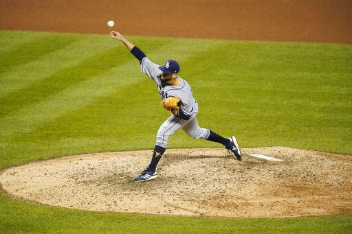 Tampa Bay Rays relief pitcher Nick Anderson delivers a pitch during the ninth inning of a baseball game against the New York Mets Monday, Sept. 21, 2020, in New York. The Rays won 2-1.