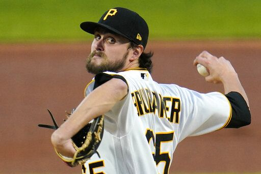 Pittsburgh Pirates starting pitcher JT Brubaker delivers during the first inning of a baseball game against the Chicago Cubs in Pittsburgh, Monday, Sept. 21, 2020.