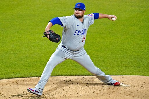 Chicago Cubs starting pitcher Jon Lester delivers during the third inning of a baseball game against the Pittsburgh Pirates in Pittsburgh, Monday, Sept. 21, 2020.