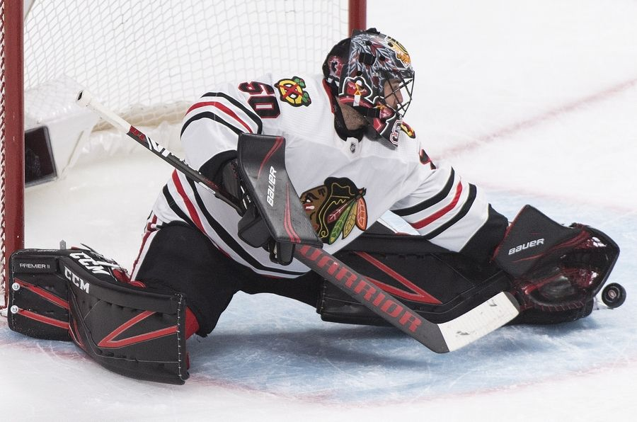 Chicago Blackhawks goaltender Corey Crawford makes a save against the Montreal Canadiens during a game in January.
