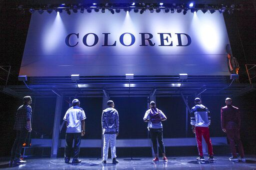 This image released by O+M/DKC shows a scene from the production of  Keenan Scott II's play 'œThoughts of a Colored Man,'� a work about the outer and inner lives of Black men. The play will be produced on Broadway when the new season starts. (Michael Davis/O+M/DKC via AP)