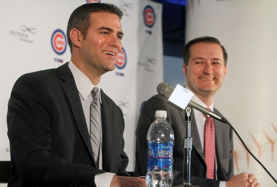 Cubs Chairman Tom Ricketts introduces Theo Epstein as the team's president of baseball operations nine years ago at Wrigley Field.