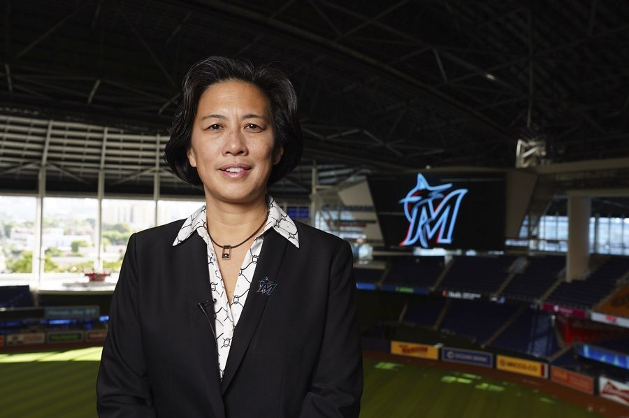Miami Marlins general manager Kim Ng was introduced Monday during a virtual news conference.