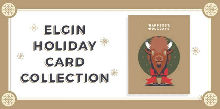 "The holiday card with a ""Happiest Holidays"" theme features a bison from Lords Park."