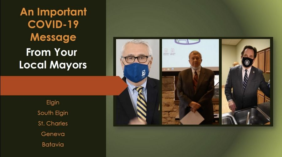 Five Fox Valley mayors participated in a video urging their residents to stay home and avoid gatherings this holiday season with COVID-19 cases surging locally and around the country.