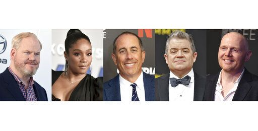 This combination photo shows comedians, from left, Jim Gaffigan, Tiffany Haddish, Jerry Seinfeld, Patton Oswalt and Bill Burr, who were nominated for a Grammy award in the best comedy album category.
