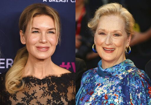 "This combination photo shows actresses Renee Zellweger, left, and Meryl Streep, who are both nominated for Grammy Awards. Zellweger, who won an Academy Award for her role as Judy Garland in 'œJudy,"" earned a Grammy nomination for best traditional pop vocal album for her performance on the soundtrack.  Streep is nominated for best spoken world album for 'œCharlotte's Web."""