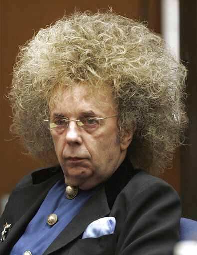 FILE - In this May 23, 2005 file photo music producer Phil Spector appears during his trial at the Los Angeles Superior Court in Los Angeles.   Spector, the eccentric and revolutionary music producer who transformed rock music with his 'œWall of Sound'� method and who was later convicted of murder, died Saturday, Jan. 16, 2021, at age 81.
