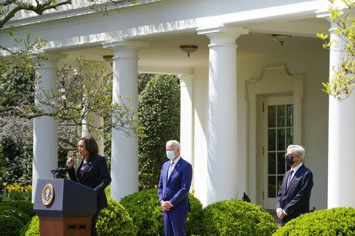 Vice President Kamala Harris accompanied by President Joe Biden and Attorney General Merrick Garland, speaks about gun violence prevention in the Rose Garden at the White House, Thursday, April 8, 2021, in Washington.