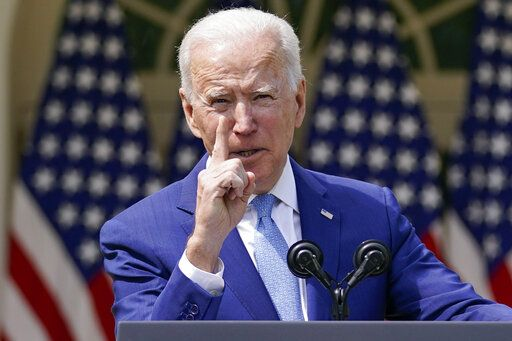 President Joe Biden gestures as he speaks about gun violence prevention in the Rose Garden at the White House, Thursday, April 8, 2021, in Washington.