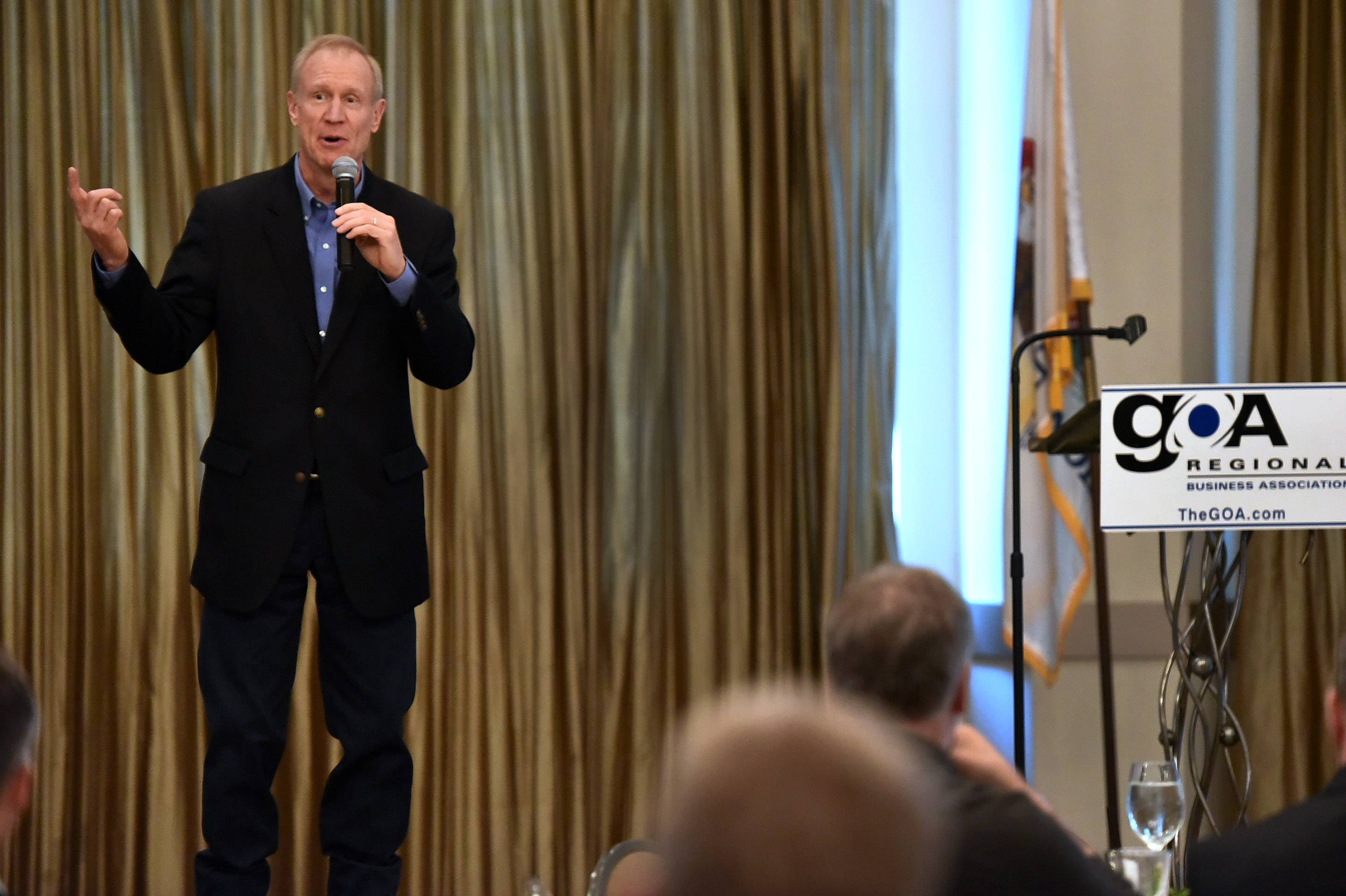 GOP Gov. Bruce Rauner addresses the Greater O'Hare Association at a lunch Wednesday at Belvedere Banquets in Elk Grove Village.