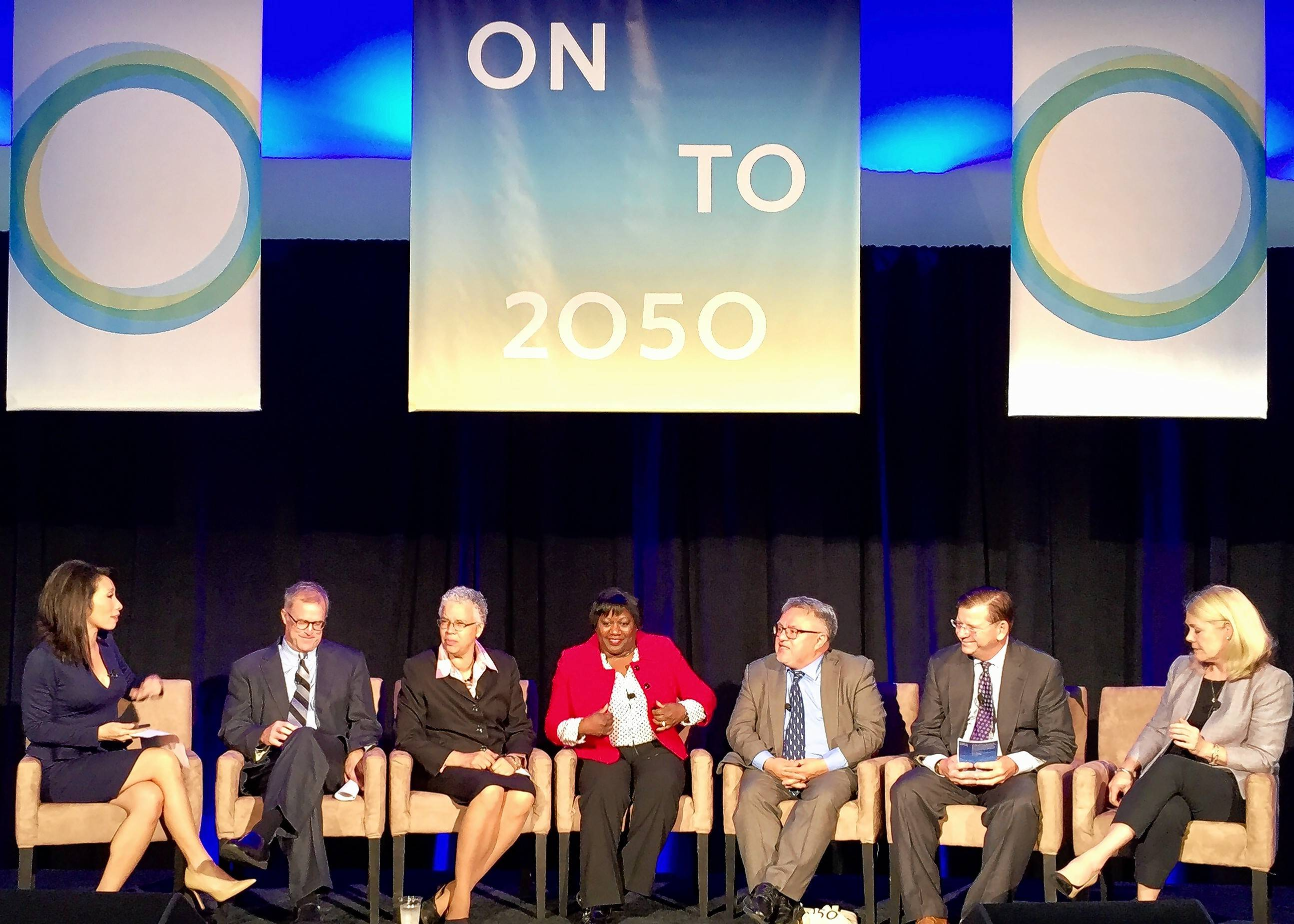 ABC 7 anchor Judy Hsu, on the left end, leads a discussion on the new regional plan ON TO 2050 with, from left, DuPage Chairman Dan Cronin, Cook County President Toni Preckwinkle, ComEd executive Melissa Y. Washington, Resurrection Project founder Raul Raymundo, Civic Foundation President Lawrence Msall and RTA Executive Director Leanne Redden.