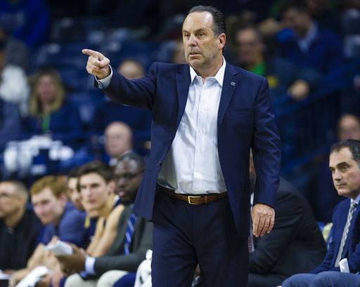 Notre Dame coach Mike Brey calls out a play during the team's NCAA college basketball game against Chicago State on Thursday, Nov. 8, 2018, in South Bend, Ind. (Michael Caterina/South Bend Tribune via AP)